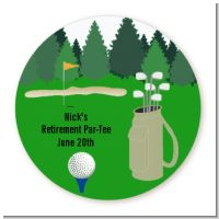 Golf - Round Personalized Retirement Party Sticker Labels