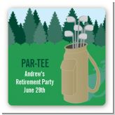 Golf - Square Personalized Retirement Party Sticker Labels