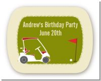 Golf Cart - Personalized Birthday Party Rounded Corner Stickers
