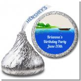 Gone Fishing - Hershey Kiss Birthday Party Sticker Labels