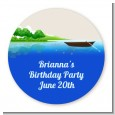 Gone Fishing - Round Personalized Birthday Party Sticker Labels thumbnail
