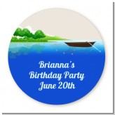 Gone Fishing - Round Personalized Birthday Party Sticker Labels