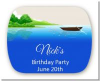 Gone Fishing - Personalized Birthday Party Rounded Corner Stickers