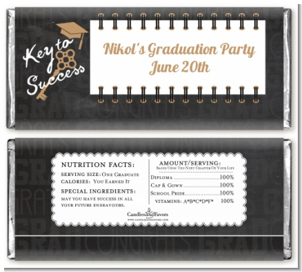 Grad Keys to Success - Personalized Graduation Party Candy Bar Wrappers