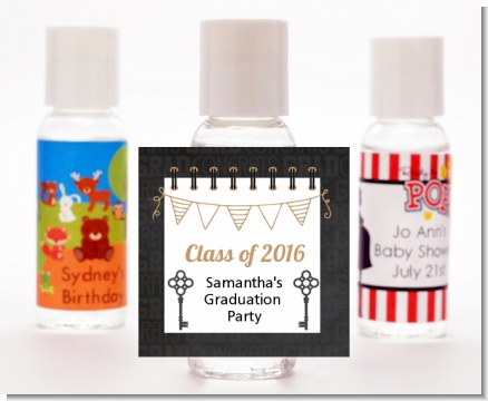 Grad Keys to Success - Personalized Graduation Party Hand Sanitizers Favors