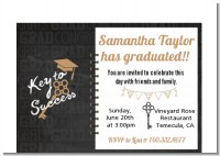 Grad Keys to Success - Graduation Party Petite Invitations