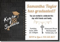 Grad Keys to Success - Graduation Party Invitations
