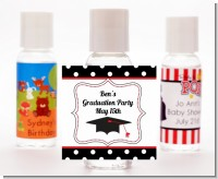 Graduation Cap Black & Red - Personalized Graduation Party Hand Sanitizers Favors