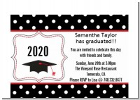 Graduation Cap Black & Red - Graduation Party Petite Invitations