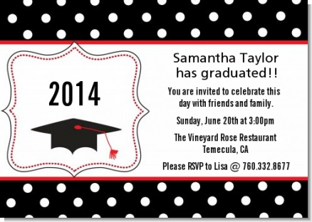 Graduation Cap Black & Red - Graduation Party Invitations