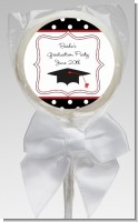 Graduation Cap Black & Red - Personalized Graduation Party Lollipop Favors