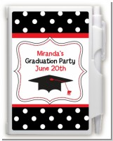 Graduation Cap Black & Red - Graduation Party Personalized Notebook Favor
