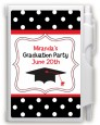 Graduation Cap Black & Red - Graduation Party Personalized Notebook Favor thumbnail