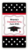 Graduation Cap Black & Red - Custom Rectangle Graduation Party Sticker/Labels