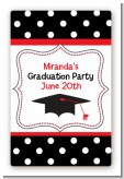 Graduation Cap Black & Red - Custom Large Rectangle Graduation Party Sticker/Labels