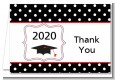 Graduation Cap Black & Red - Graduation Party Thank You Cards thumbnail