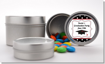 Graduation Cap Black - Custom Graduation Party Favor Tins