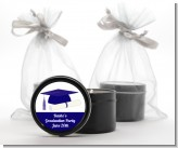 Graduation Cap Blue - Graduation Party Black Candle Tin Favors