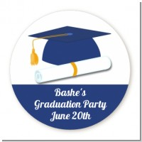 Graduation Cap Blue - Round Personalized Graduation Party Sticker Labels