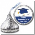 Graduation Cap Blue - Hershey Kiss Graduation Party Sticker Labels thumbnail
