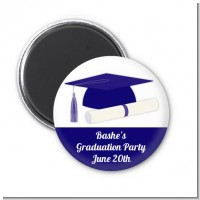 Graduation Cap Blue - Personalized Graduation Party Magnet Favors