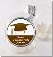 Graduation Cap Brown - Personalized Graduation Party Candy Jar