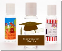 Graduation Cap Brown - Personalized Graduation Party Hand Sanitizers Favors