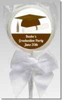 Graduation Cap Brown - Personalized Graduation Party Lollipop Favors