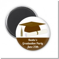 Graduation Cap Brown - Personalized Graduation Party Magnet Favors