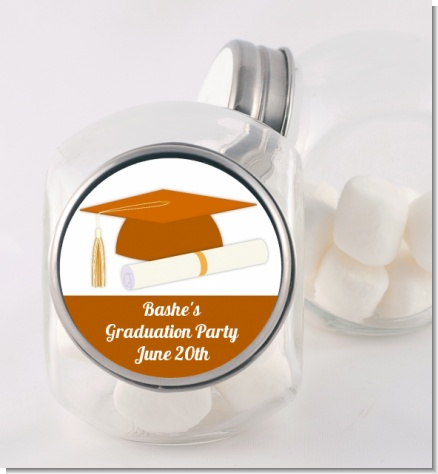 Graduation Cap Orange - Personalized Graduation Party Candy Jar