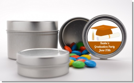 Graduation Cap Orange - Custom Graduation Party Favor Tins