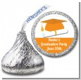 Graduation Cap Orange - Hershey Kiss Graduation Party Sticker Labels thumbnail