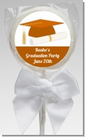 Graduation Cap Orange - Personalized Graduation Party Lollipop Favors