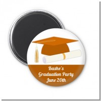 Graduation Cap Orange - Personalized Graduation Party Magnet Favors