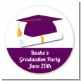 Graduation Cap Purple - Round Personalized Graduation Party Sticker Labels thumbnail