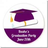 Graduation Cap Purple - Round Personalized Graduation Party Sticker Labels
