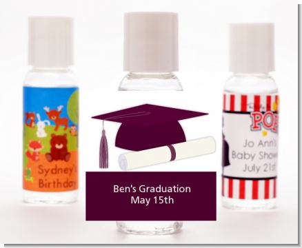 Graduation Cap Purple - Personalized Graduation Party Hand Sanitizers Favors