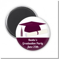 Graduation Cap Purple - Personalized Graduation Party Magnet Favors