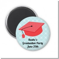 Graduation Cap Red - Personalized Graduation Party Magnet Favors