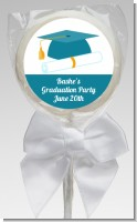 Graduation Cap Teal - Personalized Graduation Party Lollipop Favors