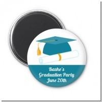 Graduation Cap Teal - Personalized Graduation Party Magnet Favors