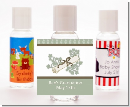 Graduation Diploma - Personalized Graduation Party Hand Sanitizers Favors