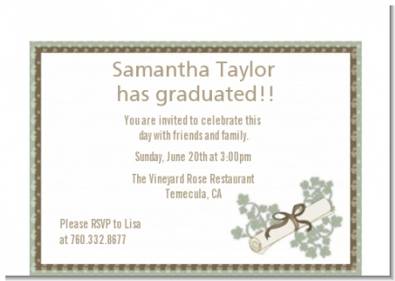 Graduation Diploma - Graduation Party Petite Invitations