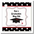 Graduation Cap Black & Red - Personalized Graduation Party Card Stock Favor Tags thumbnail