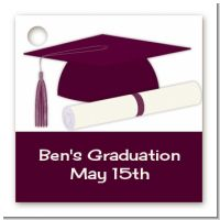 Graduation Cap Purple - Personalized Graduation Party Card Stock Favor Tags