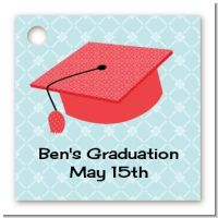 Graduation Cap Red - Personalized Graduation Party Card Stock Favor Tags