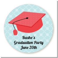 Graduation Cap Red - Round Personalized Graduation Party Sticker Labels