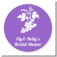 Grapes - Round Personalized Bridal Shower Sticker Labels thumbnail