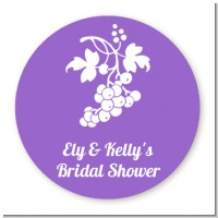 Grapes - Round Personalized Bridal Shower Sticker Labels
