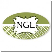 Modern Thatch Green - Personalized Everyday Party Oval Sticker/Labels
